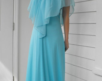 Blue Goddess Maxi Lace Sky Formal Gown Grecian Vintage 70s Dress XS