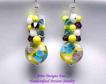 Summertime Dreams...Floral Lampwork Earrings in Yellow,Teal,Amethyst and White