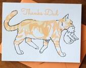 Thank You Father Feline Letterpress Card