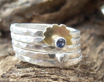 Cornflower Blue Yogo Sapphire and  Diamond Stacking Ring Set with Brass Floral Motif Size 8