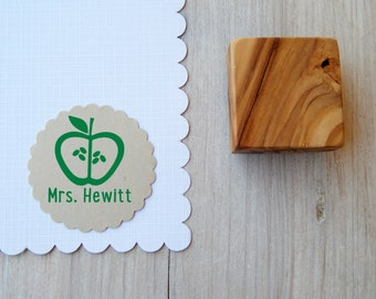 Custom Apple Outline Olive Wood Stamp