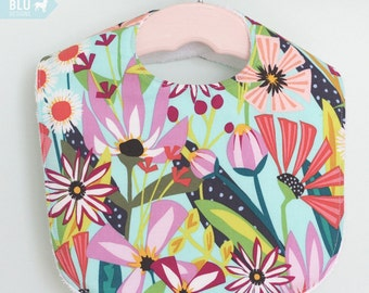 The Dressy Drooler Bib in Garden Party Tango fabric