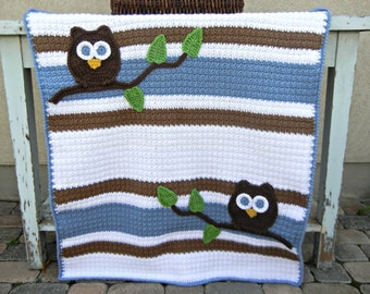 Owl Baby Blanket Blue Brown Boy Baby Shower Gift