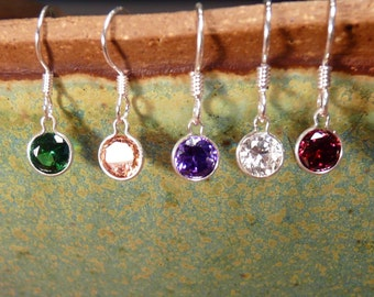 Sterling Silver and Colored CZ Earrings