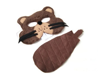Beaver Mask and Tail Set, Woodland Animal Mask, Animal Fur Mask, Animal Birthday Party Favor, Children's Halloween Costume, Adult Mask