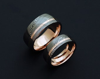 Genuine stainless Damascus Steel and Rose Gold Wedding Band Set PD82