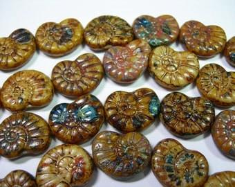 12 - 17mm Creme Travertine Nautilus Snail Shell Czech Glass Beads