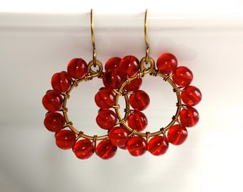 Red Glass Earrings - 'After-Party Bash'
