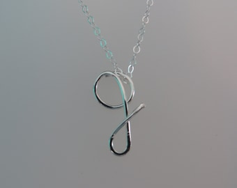 Sterling Silver lower case initial necklace