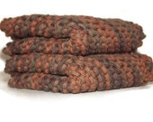 Fathers Day Gift, Mens Gift, Hand Knit Dishcloths Warm Autumn Colors Brown, Rust, Multi Color