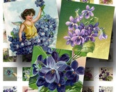 Violets Digital Collage Sheet ON SALE!!! / Digital Download / Victorian Postcards Floral Purple Flower / Scrabble Size #2 / INSTANT Download