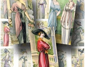 French Fashion Digital Collage Sheet / ON SALE!!! / Digital Download / Vintage Fashion Hat Dress Paris / Domino Size #9 / INSTANT Download