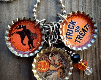 Happy Halloween - Trick or Treat Themed Bottle Cap Necklace