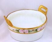 Absolutely Charming Handpainted Old Antique Butter Tub / Dish Tressemanes Vogt T V Limoges France