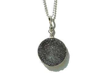 Charcoal Druzy Moon Pendant / Sterling Silver / Quartz Drusy Necklace / Gifts For Her / Grey Drop / Modern / Little Black Dress / OOAK