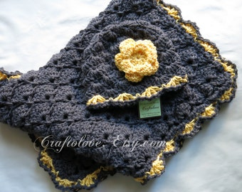 Crochet baby blanket- Baby Girl Shower Gift set- Baby Girl blanket- Charcoal grey/Sunshine yellow Panel Shells and Hat- Newborn Photo props