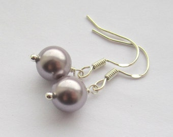 Simple Mauve 8mm Swarovski Pearl Sterling Silver Earrings