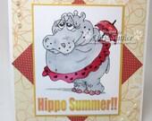 HIPPO SUMMER - Blank -  OOAK card