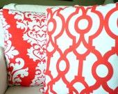 Orange Pillow Covers, Decorative Throw Pillows Cushions, Orange White Damask Trellis Lava Orange/Red Cushions Combo Set of Two Various Sizes