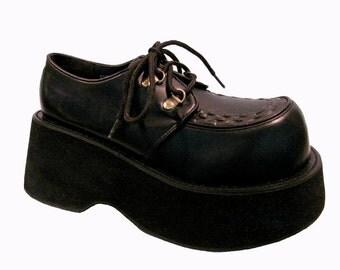 Gothic Lolita Platform Shoes Vintage Womens Le Mouse Club Kid Lace Up Chunky Clubkid Stacks Fits Wms US Size 6