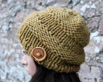HAT womens chunky - Big softie hat in dark mustard shade,  super chunky hat, winter hat