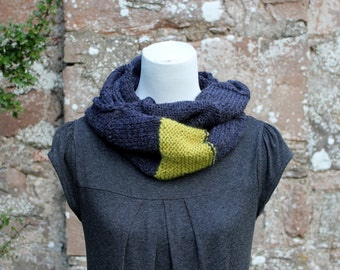 SCARF knitted, Charcoal infinity loop scarf with added  stripe in sorbet shade, womens knitwear, gift for her