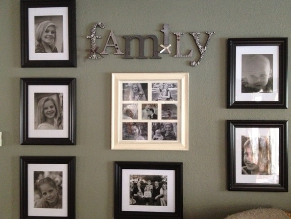 Wood letters family sign black and cream living by for Living room 6 letters