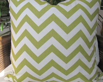 Spring Green Chevron Toss Pillow