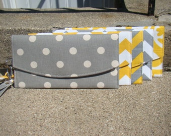 Set of 5 Bridesmaids Envelope Clutches ... Yellow and Gray ... More Available