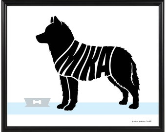 Personalized Siberian Husky Print, Framed Silhouette Dog Print, Husky Art, Dog Decor Gift