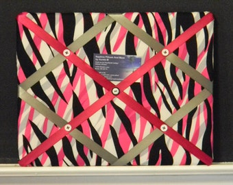 11 x 14 Black/White/Pink/Grey Zebra Memory Board