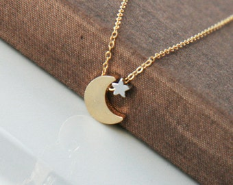 Gold Necklace,Gold Filled Chain,Gold Moon Star,Moon Star Necklace,Gold Crescent Star,Dainty Necklace,Minimal Necklace,Bridesmaid Gift