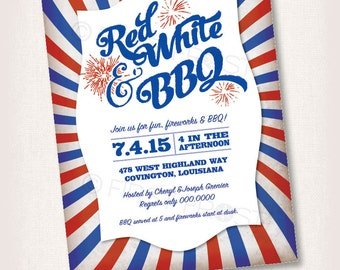 Printable 4th of July Memorial Day Patriotic BBQ Invitation -  Celebrations, Parties, Showers and More!