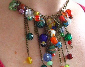 Indian glass, Hippie, Bohemian, mix colour, feature necklace, by NewellsJewels on etsy