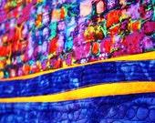 Modern fiber art quilt for sale, an abstract geometric wall hanging City Lights,bright colors metallic highlights