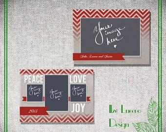 5x7 Linen and Chevron Christmas Card templates PSD