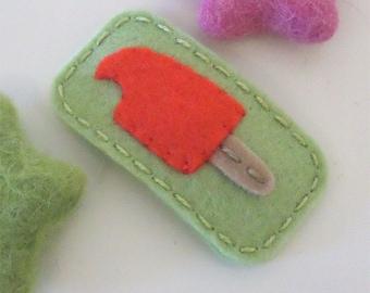 Felt hair clip -No slip -Wool felt -New cherry ice lolly -spring