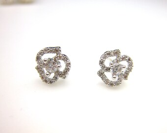 Sterling silver bridal earrings wedding prom christmas party mini rose flower shape cubic zirconia stud post white gold silver earrings