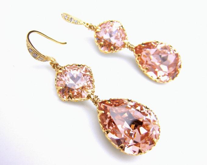 bridesmaid gift prom party bridal earrings Swarovski vintage rose teardrop foiled rhinestone drop cubic zirconia deco gold vermeil hook