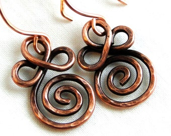 Wire Wrapped Earrings, Spiral Earrings, Antiqued Copper Jewelry, Venus Earrings