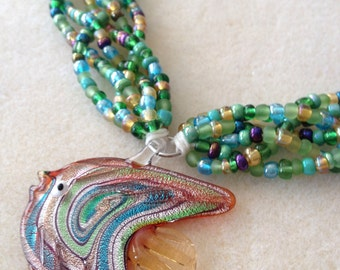 Braided Bead necklace with Glass Fish Pendant