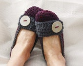 Crochet Slippers Womens Flats Mixed Dark Plum and Gray