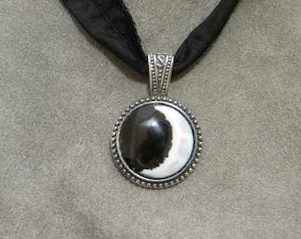 Waxing Crescent Moon 20mm Medallion vitreous enamel necklace