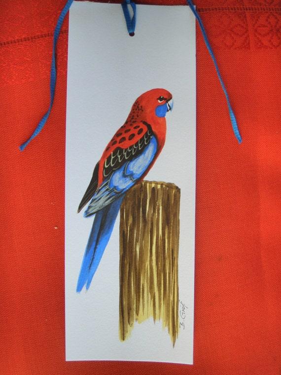 CRIMSON ROSELLA Hand Painted BOOKMARK