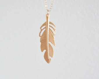 Gold feather necklace, gold filled chain, delicate modern jewelry