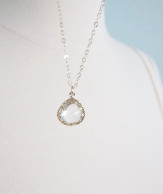 Crystal teardrop necklace in gold, Adele, lovely bridal or everyday jewelry