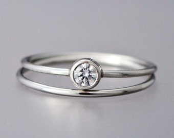Diamond Platinum Engagement Ring and Wedding Band Set - 3.4mm diamond with a delicate 1mm round band