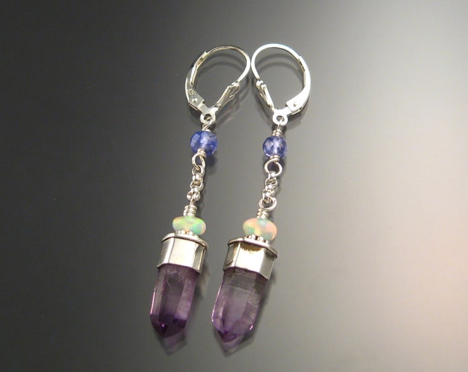 Natural Amethyst Crystal and Ethiopian Opal earrings Sterling Silver handcrafted