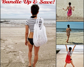 Oversized Beach Bag - Bundle of 4 - Crochet Knit - Market Tote - Made To Order