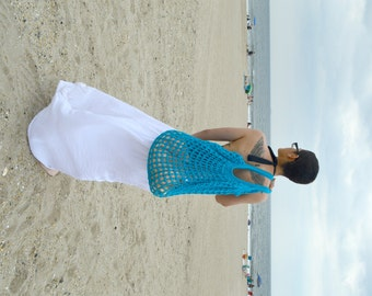 Turquoise Oversized Beach Bag - Crochet Knit - Market Tote - Unlined is Ready To Ship